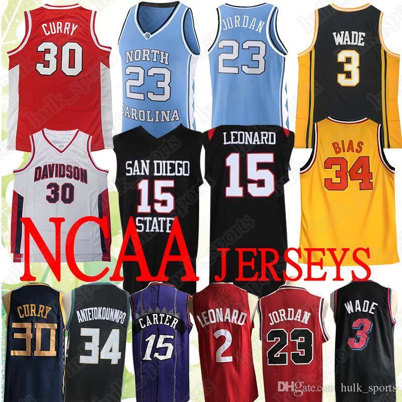 size 40 93dd2 84d31 NCAA 23 Michael 23 MJ North Carolina College Jersey Leonard 15 Carter 30  Curry 3 Wade 34 Camisetas de baloncesto Antetokounmpo