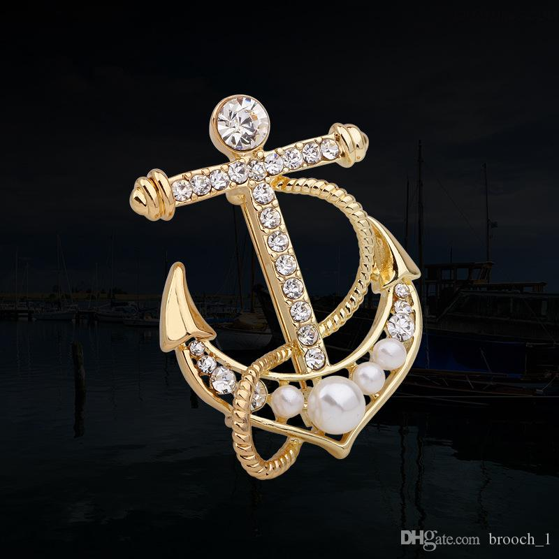 Wholesale High Quality Anchor Brooches Esmalte Enamel Broches Gold Silver Ouro Hijab Pins Esmalte de Unhas Rhinestone Brooches Buckle Pins