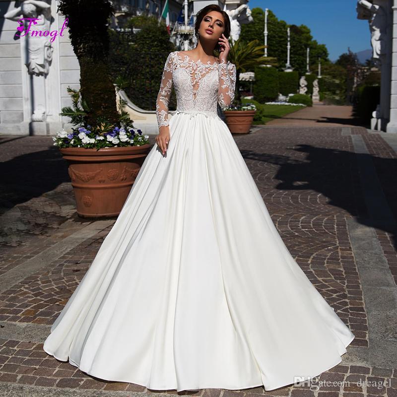 Fmogl Graceful Appliques Long Sleeves A Line Wedding Dresses 2019 Fashion Scoop Neck Button Vintage Bridal Gown Vestido De Noiva Plus Size