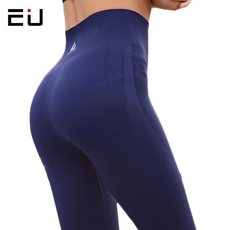 cbd7868a4c260 2019 Eu Womens Pants Elasticity High Waist Yoga Hip Up Fitness Sport  Leggings Women Gym Running Tights C190420 From Shen07, $21.39 | DHgate.Com