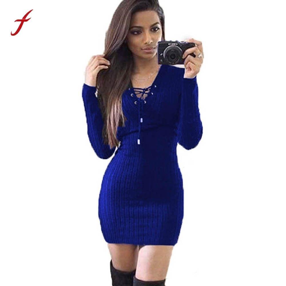 2019 Women Winter Dress Long Sleeve Knitted Bodycon Sweater Dress ...
