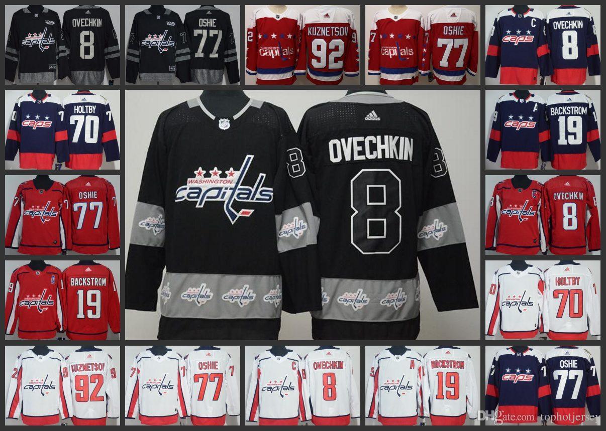 Großhandel 8 Alexander Ovechkin Washington Capitals Hockey Trikots 77 T.J.  Oshie 92 Evgeny Kuznetsov 19 Nicklas Backstrom Trikots Von Top  jerseys c1b70cf154981