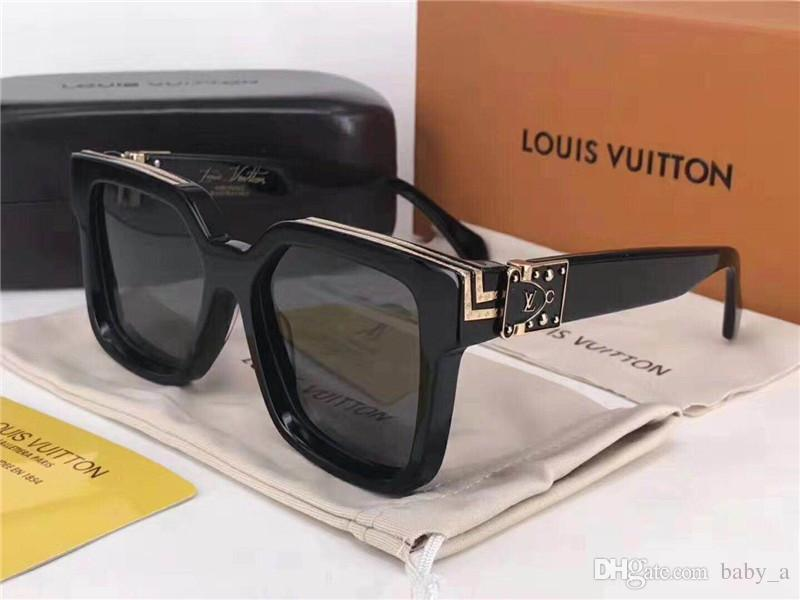 b97d4a1867666 Luxury MILLIONAIRE M96006WN LOUIS VUITTON LV Sunglasses full frame Vintage  designer sunglasses for men Shiny Gold plated Top 96006
