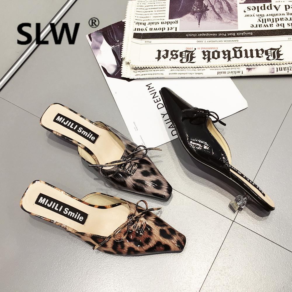 67e2063aad2b Bow Knot Leopard Pointed Toe Mules Sexy Fashion Crystal Thin Heel Gladiator  Slides Ladies Spring Outdoor Party Dress Shoes Red Shoes Moon Boots From  Drdre