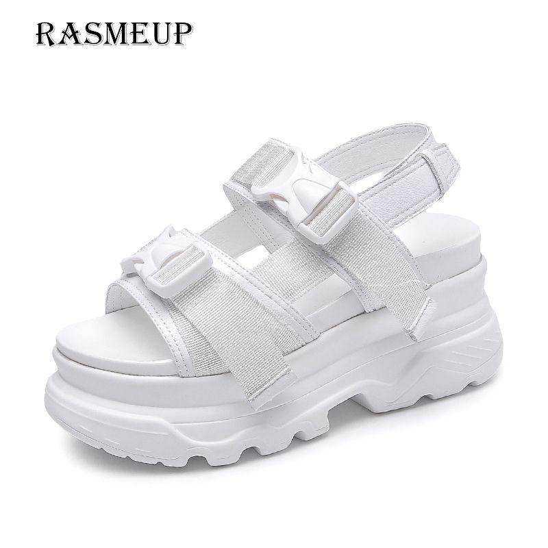 Frauen Schuhe Rasmeup 8 Cm Frauen Plattform Sandalen 2019 Mode Sommer Frauen Strand Chunky Sandale Casual Komfort Dicken Sohlen Frau Schuhe Schwarz Schuhe