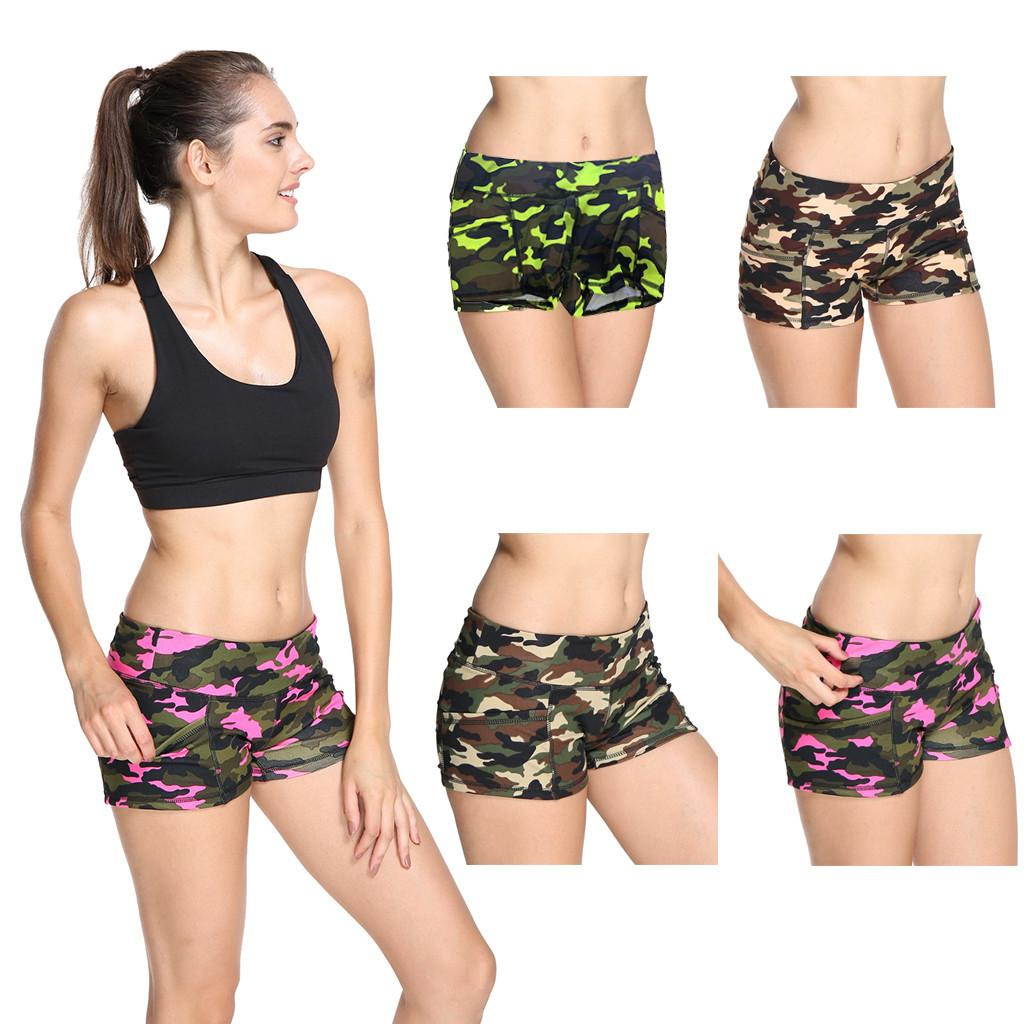 ca9d03fc54962 2019 2019 Shorts Women Feminino Hot Short Pants Camouflage Print Athletic  Summer Sports Pant High Waist Spodenki Damskie From Jiuwocute, $42.4    DHgate.Com