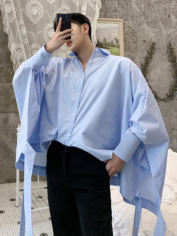 Oversized Men Streetwear Loose Bat Long Sleeve Casual Shirt Male Ribbons Fashion Punk Gothic Party Dress Shirt Stage Costumes