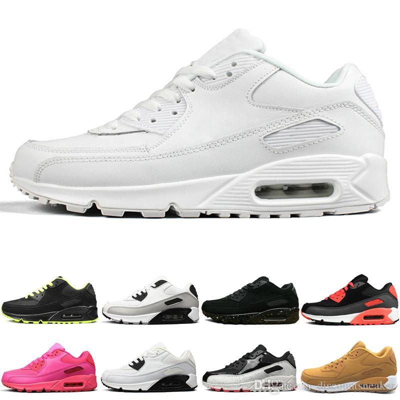 Nike air max 90 Moda Hombres Mujeres Zapatos Corrientes Triple Blanco Negro infrarrojo Neon amarillo Hombres entrenadores 2019 Nuevas zapatillas