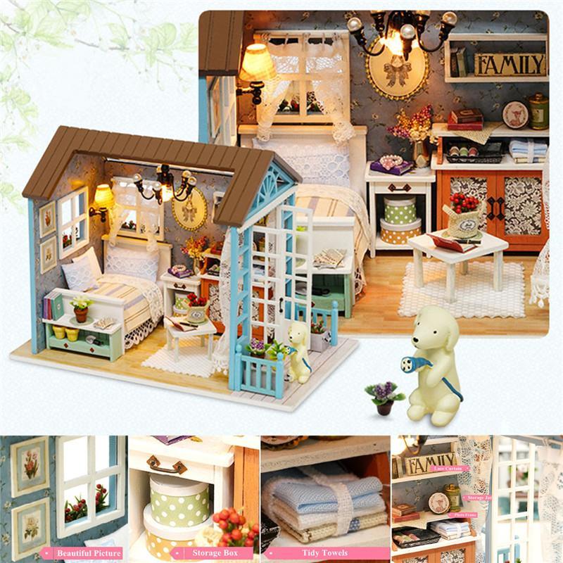Muebles Niños Para Led Madera Cumpleaños Diy 3d De Escalera Regalos Luces Casa Muñecas Miniatura Juguetes Pkn0w8O