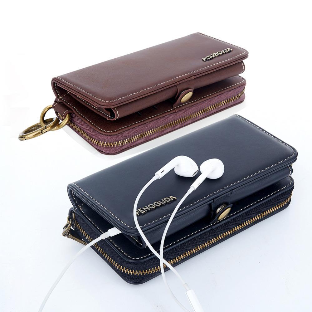 Universal Brieftasche Pu Leder Für Yotaphone 2 Reißverschlussabdeckung Für Huawei P8 P9 Lite P10 Honor 8 Case Visitenkartenhalter Telefon Taschen
