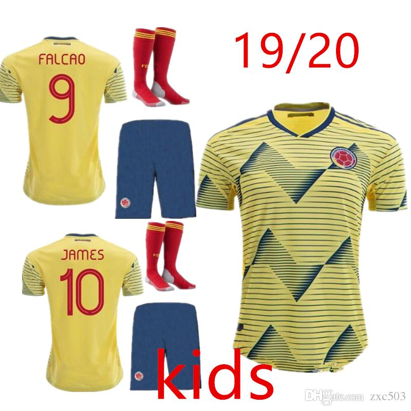 new product 46d16 87d3b 2019 Colombia Copa America home KIDS KIT soccer jersey yellow james falcao  19 20 Colombia away Sanchez 2020 child Football shirts