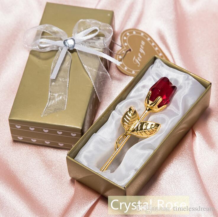 Романтические свадебные подарки Multicolor Crystal Rose одолжений с красочной коробке благосклонности партии Baby Shower Souvenir украшения для гостей Бесплатная доставка
