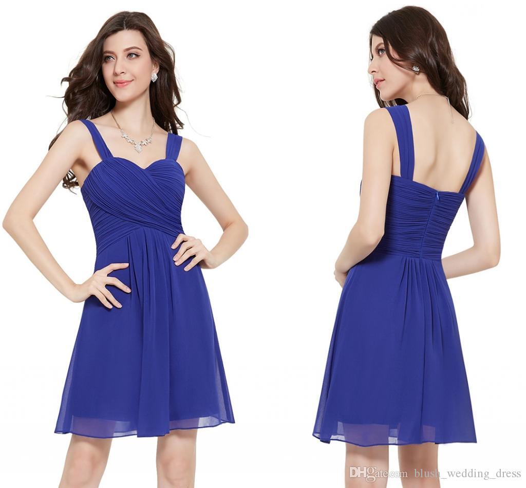 a21783552 Compre Una Línea De Vestidos Cortos De Baile Sexy Halter Gasa Azul Púrpura  Cóctel Falda De Dama De Honor Vestidos Sin Espalda DH146 A  85.43 Del ...