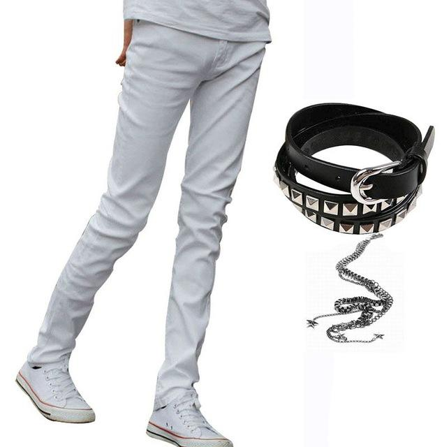 8b338406574 2019 Hot Selling Mens Korean Designer Black Slim Fit Jeans Punk Cool Super  Skinny Pants With Chain For Male From Nihaode