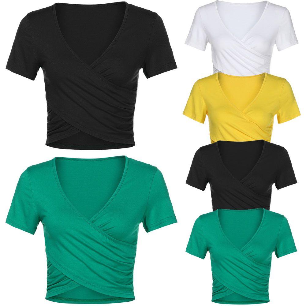f8e1355d73219 Tshirt Femme Cropped Feminino Tshirt Women Deep V Neck Short Sleeve Cross  Wrap Slim Fit Casual Tops Bluses Camiseta Mujer Online Shopping T Shirt Cool  ...
