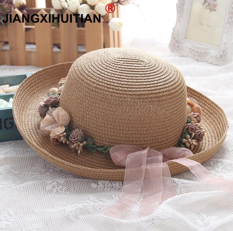 b775b87e01896 2018 Summer New Women S Sun Hat Beige Lace Bowknot Flowers Ribbon Flanging  Straw Hat Beach Caps Head Circumference 55 58 Cm Fur Hats Men Hats From ...