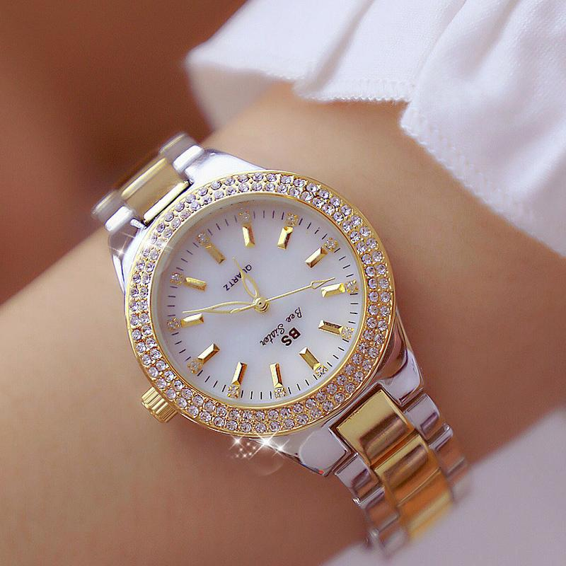 5ddd2b37bb1b Compre 2019 Marca De Lujo De Dama De Cristal Reloj De Las Mujeres Vestido  Reloj De Moda De Oro Rosa De Cuarzo Relojes De Pulsera De Acero Inoxidable  ...