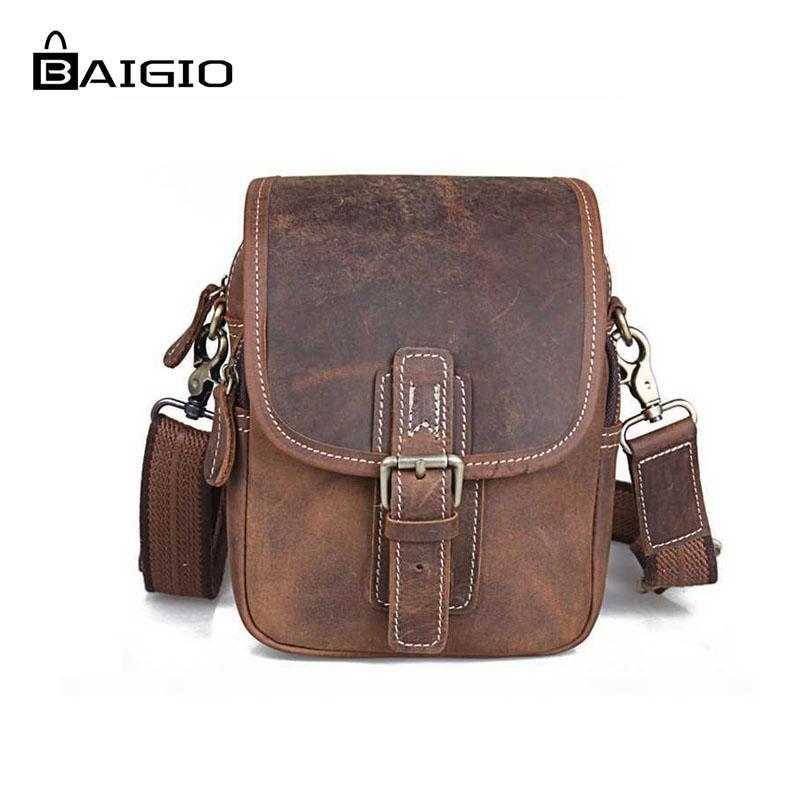 96b8bb973 Compre Baigio Hombres Bolsos De Hombro De Cuero Vintage Brown Ialian  Crossbody Bolsos De Cuero Diseñador De La Marca Hombre Viajes Paquetes De  La Cintura ...