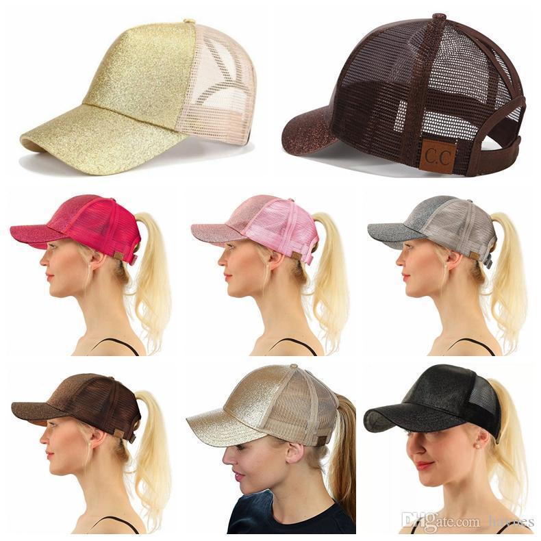 7fe22e64324f7 CC Glitter Ponytail Hat Messy Bun Ponycap Glitter Mesh Baseball Cap Sequin  CC Softball Hats Vintage Baseball Caps Cap Shop From Haynes
