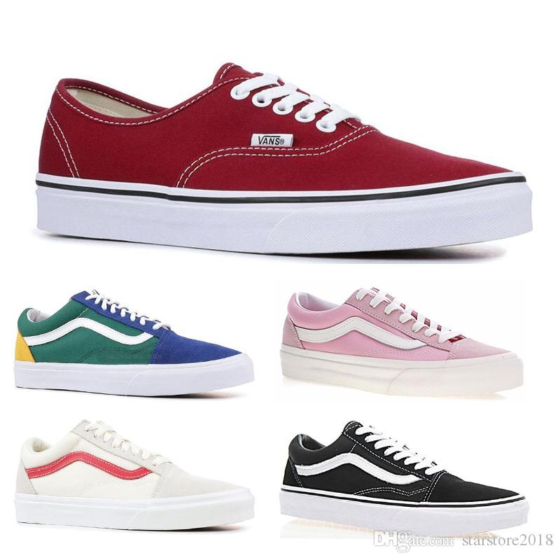 3b66090a Original Vans old skool sk8 hi mens womens canvas sneakers black white pink  YACHT CLUB Strawberry skate Hot casual shoes size 36-44