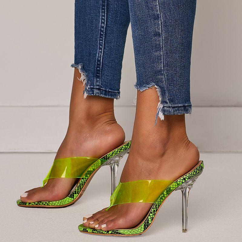 the best attitude d74e7 b1f1c 2019 Plus Size 42 Women Summer 11cm High Heels Crystal Flip Flops Sandals  Clear Heels Pumps Green Slippers Prom Sandles Shoes