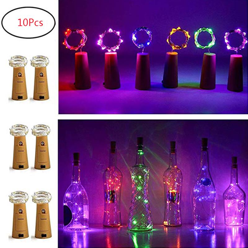 10Pcs Holiday Cork Copper Wire String Lights Wine Bottle Light Waterproof Garden Light Wedding Christmas New Year DIY Ornaments