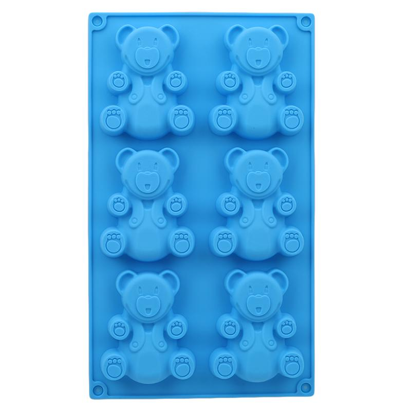 3D Lovely Bear Form Cake Mold Silicone Mold Baking Tools Kitchen Fondant Cutters Kitchen Fondant Cake mold Tools 6 Holes