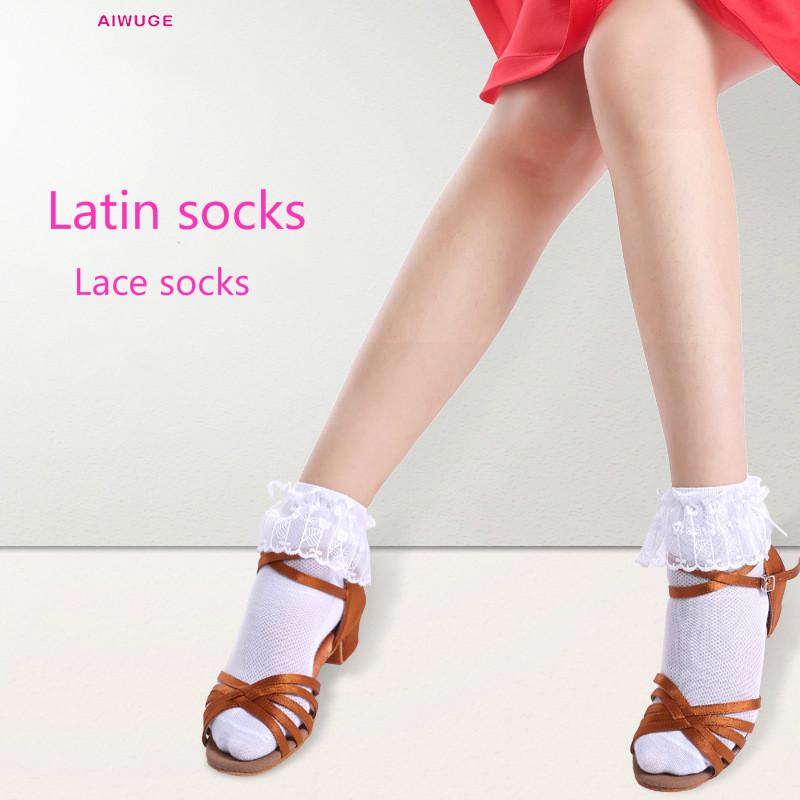 Children's Latin Code Socks Girls Dance Socks Princess Lace Cotton White Socks
