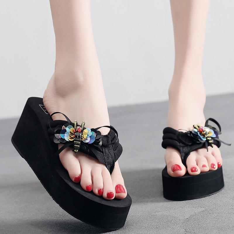 b4db7d881b1 Female Slippers Summer Fashion Wear Seaside Slippery Thick Bottom Wedges  with Feet Sandals Bow Flip Flops