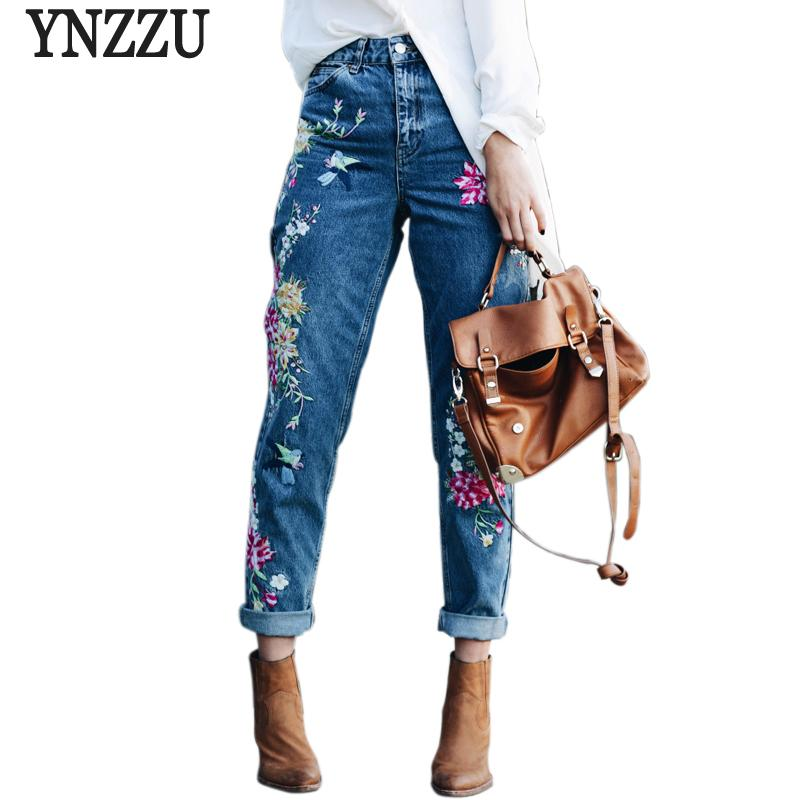 Ynzzu Plus Size Flower Embroidery Female High Waist Pants 2017 Spring Summer Women Bottom Jeans Femme Yb051 C19041201