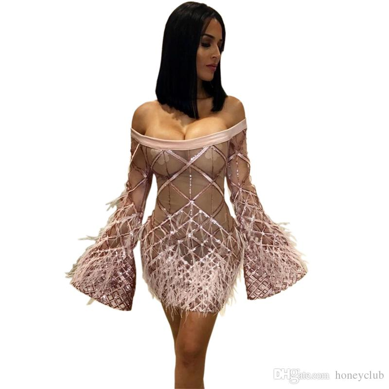 144eab87d75 Nouveau 2019 paillettes avec robe de plume de mode à manches longues de  l épaule Clubwear célébrité sexy femmes nuit robe robe livraison gratuite