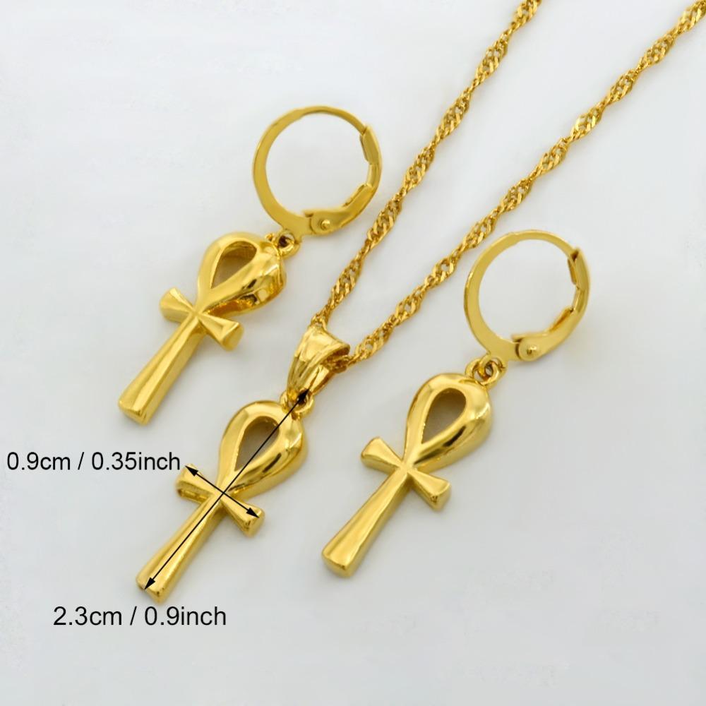 Anniyo Wholesale Ankh Pendant Chain Earrings Gold Color Egyptian Cross Jewelry Women Egypt Hieroglyphs,Crux Ansata #054902