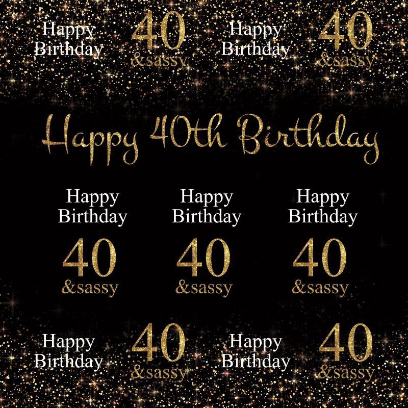 2019 Laeacco Happy 40th Birthday Party Celebration Gold Polka Dot