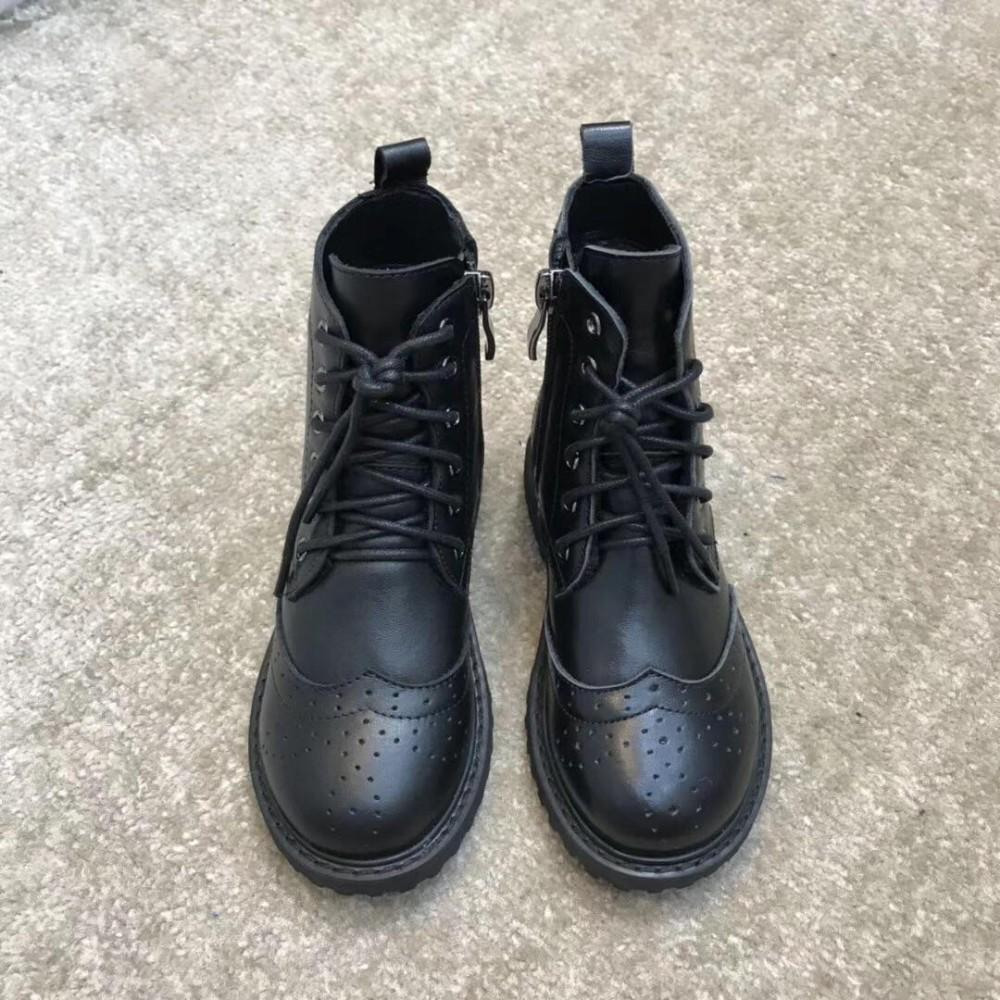 34724e28f12 Autumn Winter New Girls And Boys leather boots Children's Boots Warm  Fashion Comfortable Black With Lace-up Best Sell