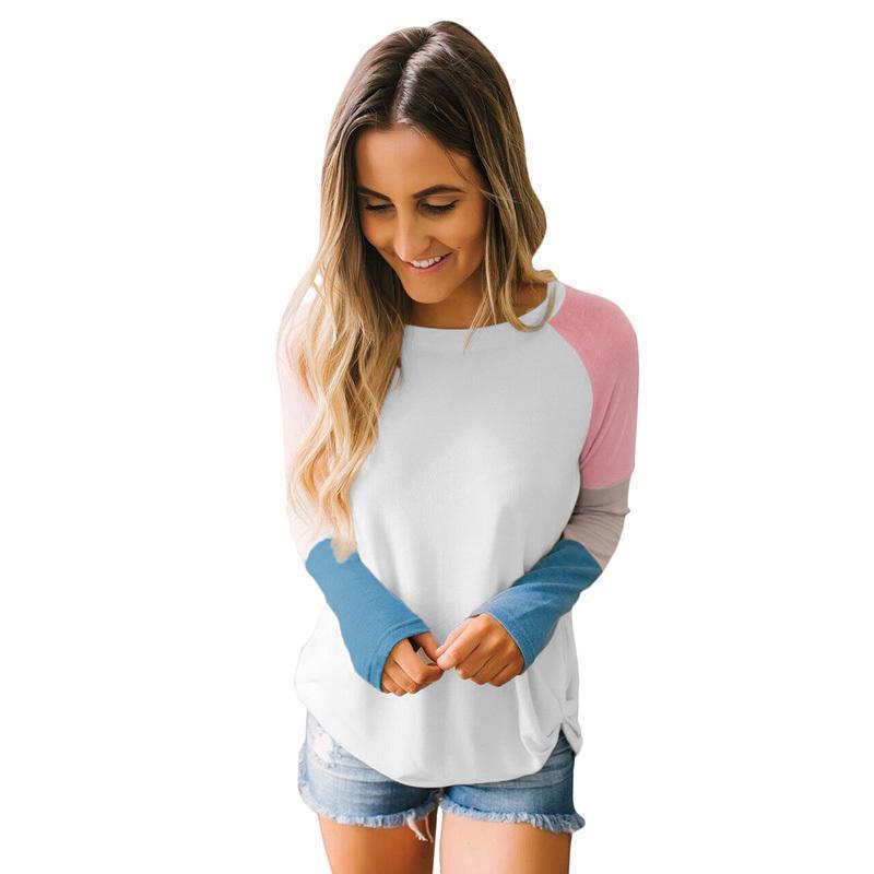 5c01bd75477c ... Di Colore Le Donne Splicing T Shirt A Manica Lunga Raglan Femminile  Taglio A Coste A Costine Increspato Girocollo Casual Autunno Tops 2019 A   30.45 Dal ...