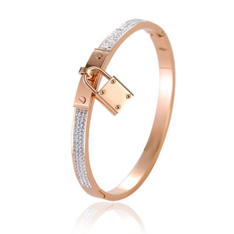 Brand Designer Lock Bangle Buckle Bracelets Titanium Steel Cuff Bracelets Pave Rhinestone Rose Gold Tone Charms Jewelry Women Wholesale DHL