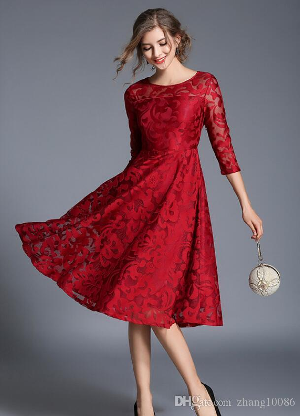 6d3b38f9eed82 2019 Red Lace Plus Size Evening Dresses Square Neck Long Sleeve Tea Length  Party Prom Dress Evening Gown For Special Occasion From Zhang10086, ...