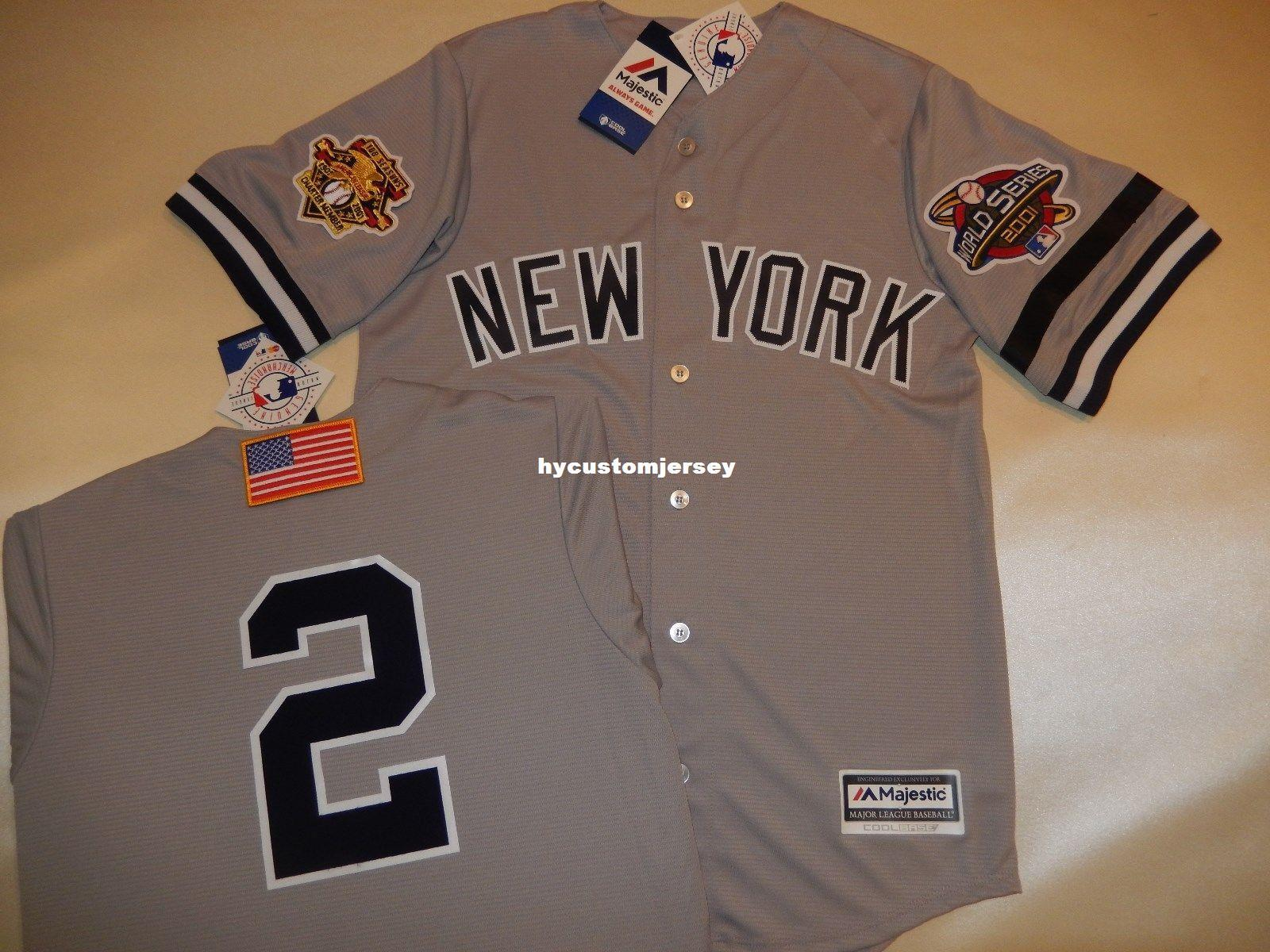 27855e2db 2019 Cheap Custom New York #2 DEREK JETER 2001 WORLD SERIES Baseball Jersey  GRAY New Mens Stitched Jerseys Big And Tall SIZE XS 6XL For Sale From ...