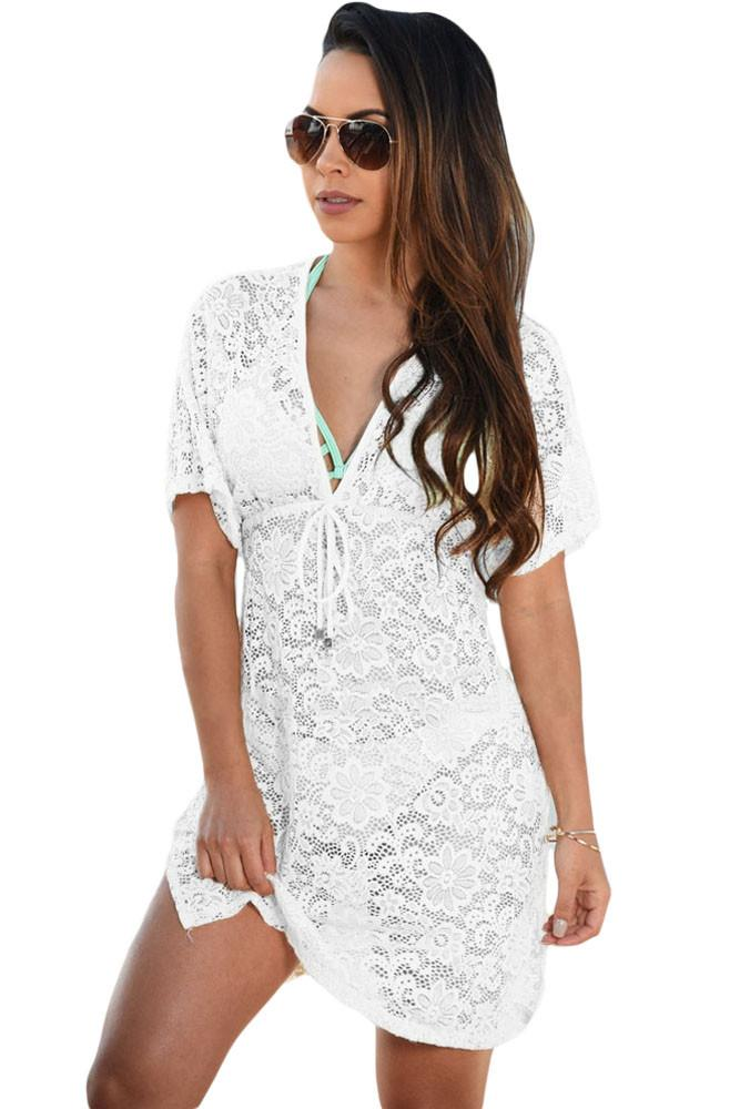 Men's Bags Luggage & Bags Lace Print Cover Up Women Solid Beach Dress Bikinis Sexy Hollow Mesh Swim Suit New Knitting Beach Wear Tunic Robe Ropa De Playa Fixing Prices According To Quality Of Products