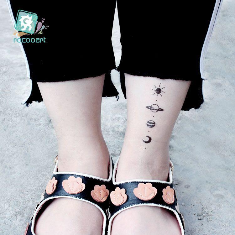 Rocooart Moon Mountain Adesivi tatuaggi temporanei Ecologia Tatuaggio finto Pianeta Tatuajes Oceano Taty Albero di cocco Tatouage impermeabile