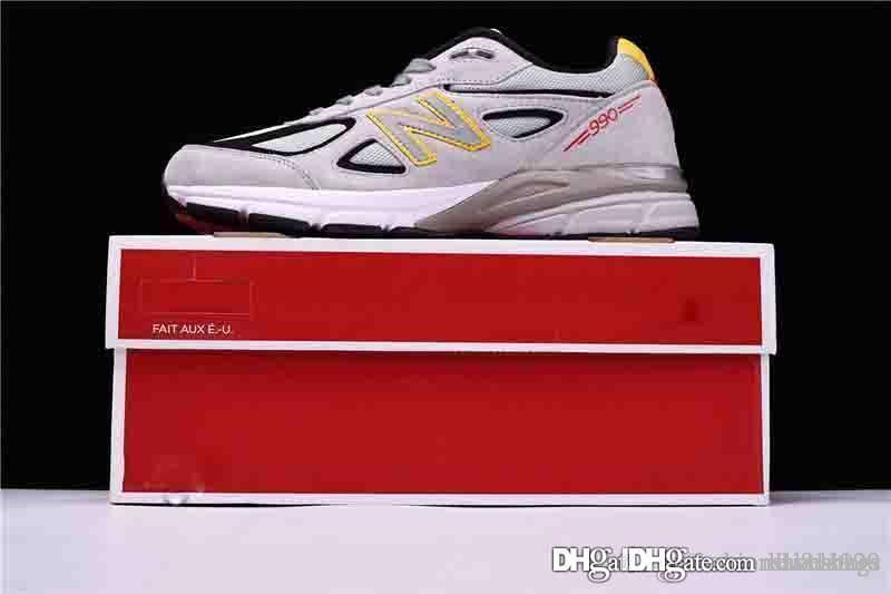 lowest price f15de 8d204 New 2019 Top Quality Balance 990MN4 990 Made in the USA Yellow Gray Castle  Rock Mens Running Sneaker in USA M990V With Box