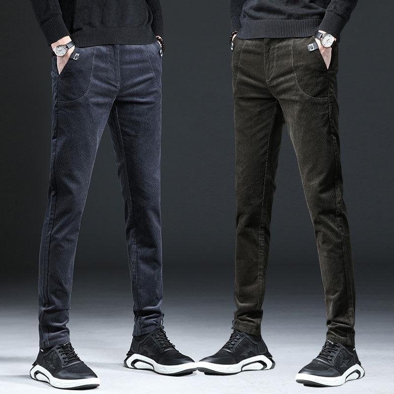 Slim Formal Men Business Suit Pants Male Fashion Streetwear Trousers Office Mens Velvet Dress Pants Corduroy Black