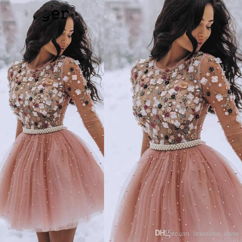 Stunning Pink Major Beading A-line Tulle Mini Prom Homecoming Dress Pearls Sashes Custom Made See-through Graduation Event Party Wear Dress