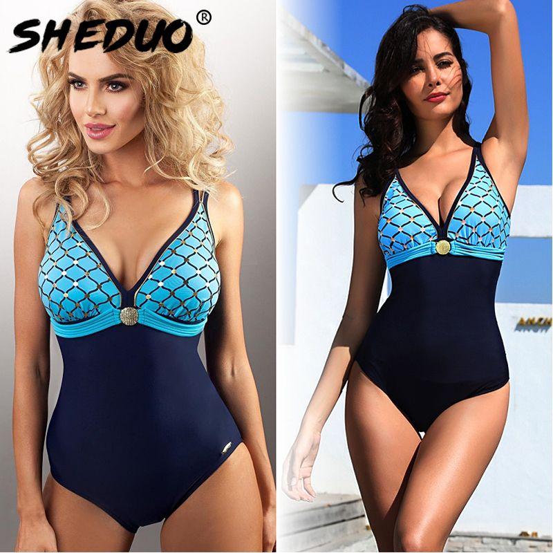 34fcad19f15 2019 One Piece Swimwear For Women Mermaid Print Backless Swimsuit ...