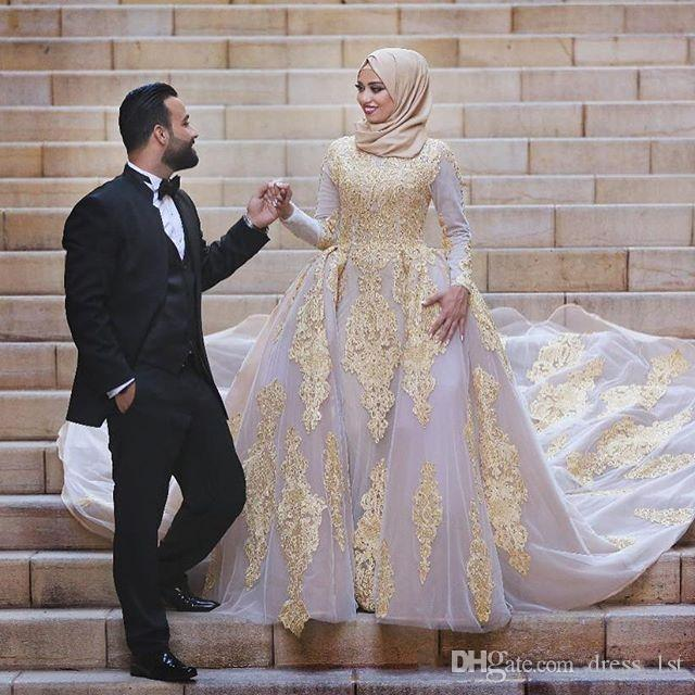 6ca5a010aa92 Discount Top Quality 2019 Arabic Muslim Wedding Dresses With Overskirt High  Neck Long Sleeves Beaded Gold Lace Nude Pink Tulle Muslim Bride Dress A  Line ...