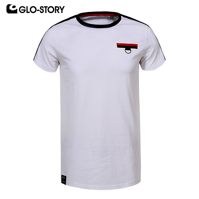 GLO-STORY Men's 2019 New 100% cotone basic Streetwear T-shirt di moda casual moda estate Skateboard Tshirt MPO-8539