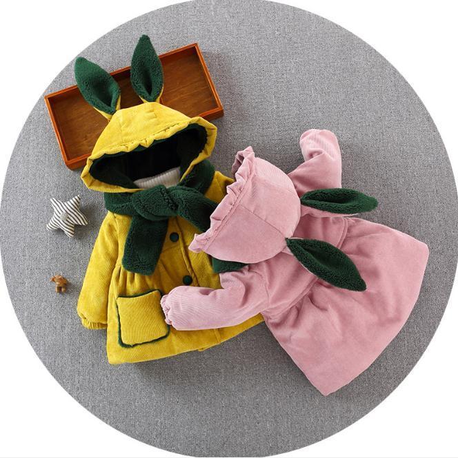 e22c07ab3928 Baby Girls Coat   Jacket Baby Outerwear Winter Rabbit Ear Hooded ...