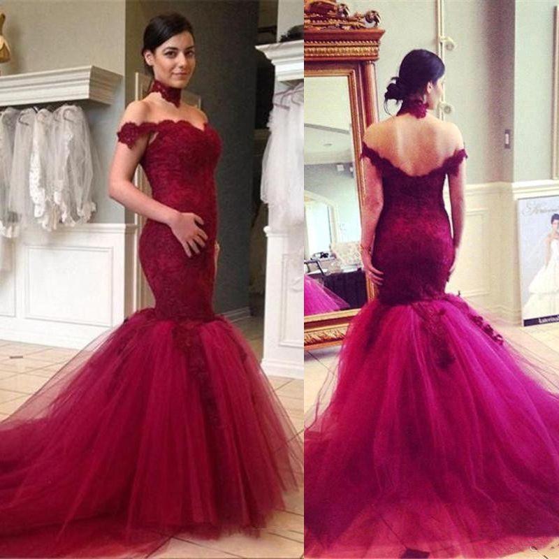63eafc1204b Burgundy Mermaid Evening Formal Dresses Long Off Shoulder 2018 Lace Prom  Party Gowns Tulle Skirt Plus Size Vestido De Festa Elegant Formal Dresses  Evening ...