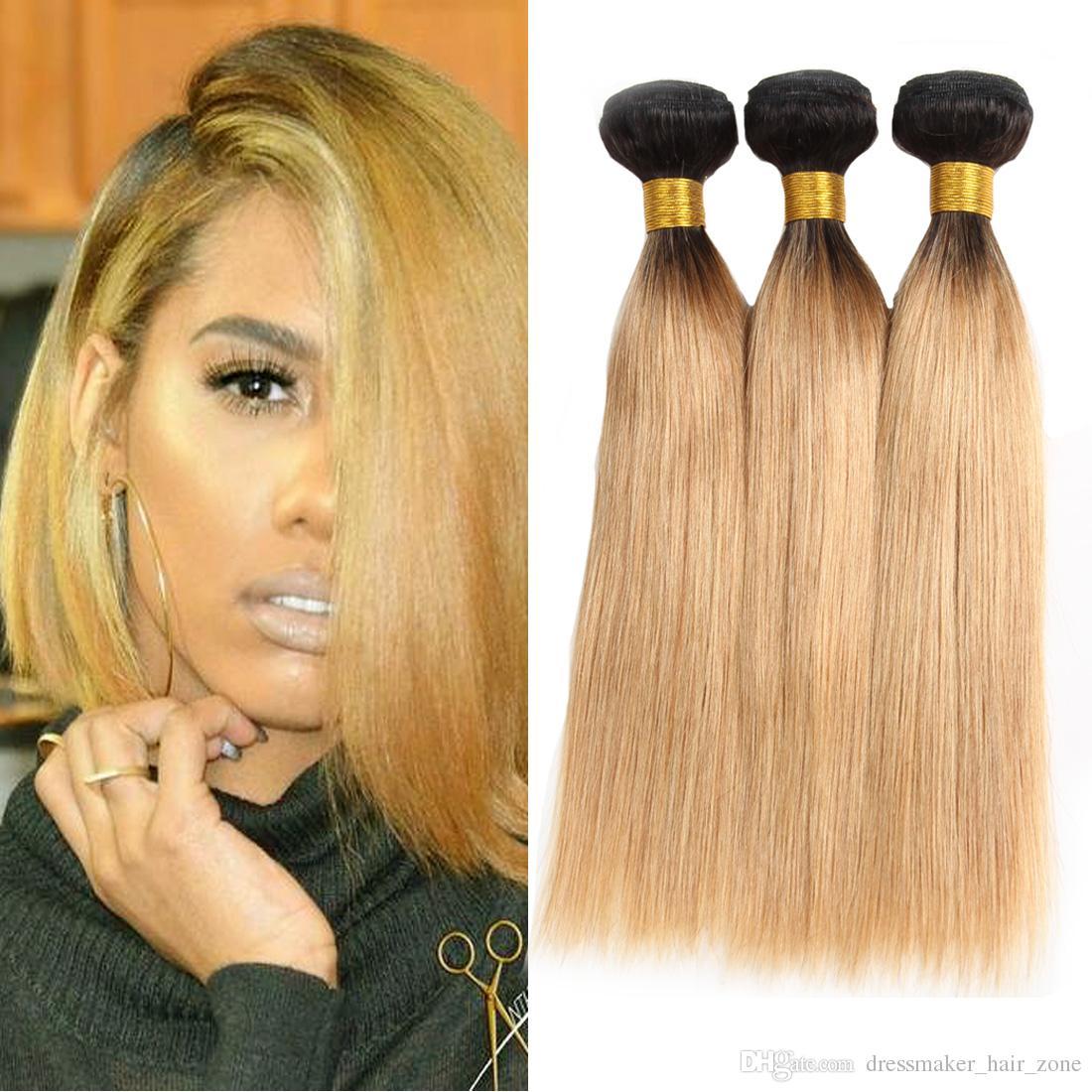 Dressmaker Ombre Blonde Straight Hair 3 Bundles T1b27 Malaysian