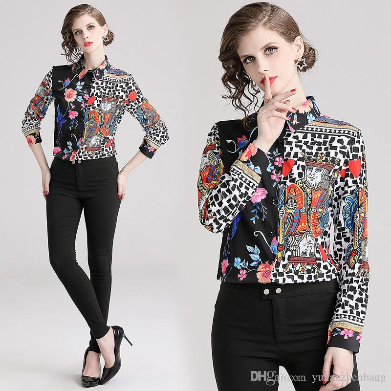 bde639c52f206c 2019 2019 Spring Runway Classic Luxury Print Collar Women S Blouses ...